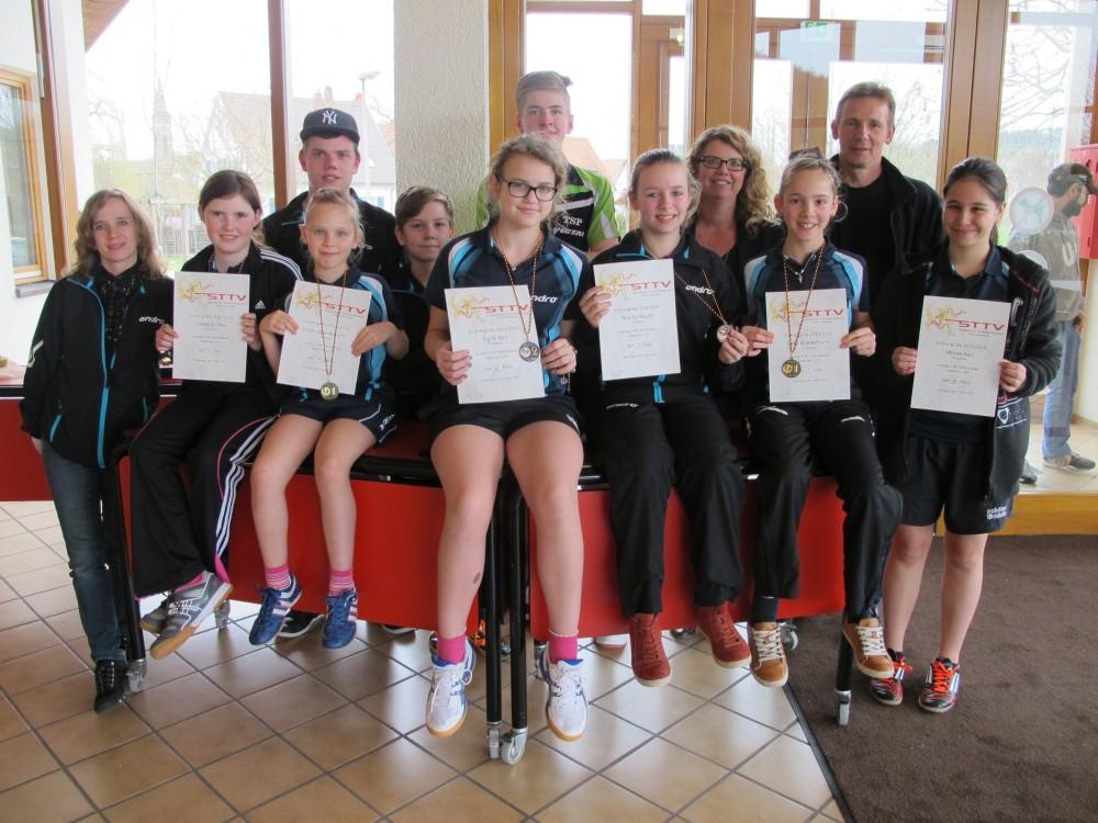 Bezirksendrangliste Gruppenfoto Teilnehmer und Coaches